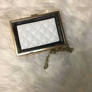 Cute Hardcase white and gold clutch lightly used